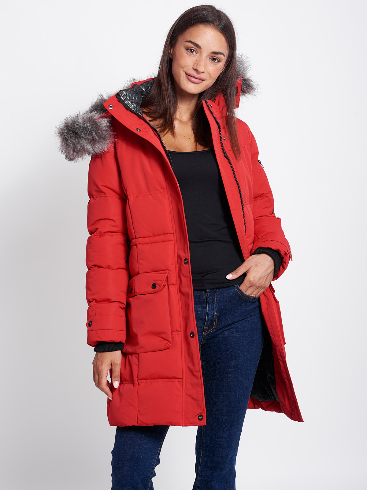 AZALEA WOMENS PARKA RED COAT