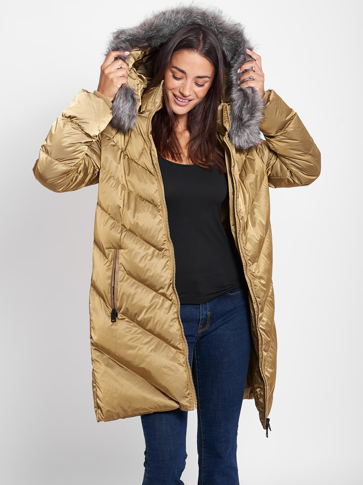 DAHLIA GOLD WOMENS PUFFER COAT