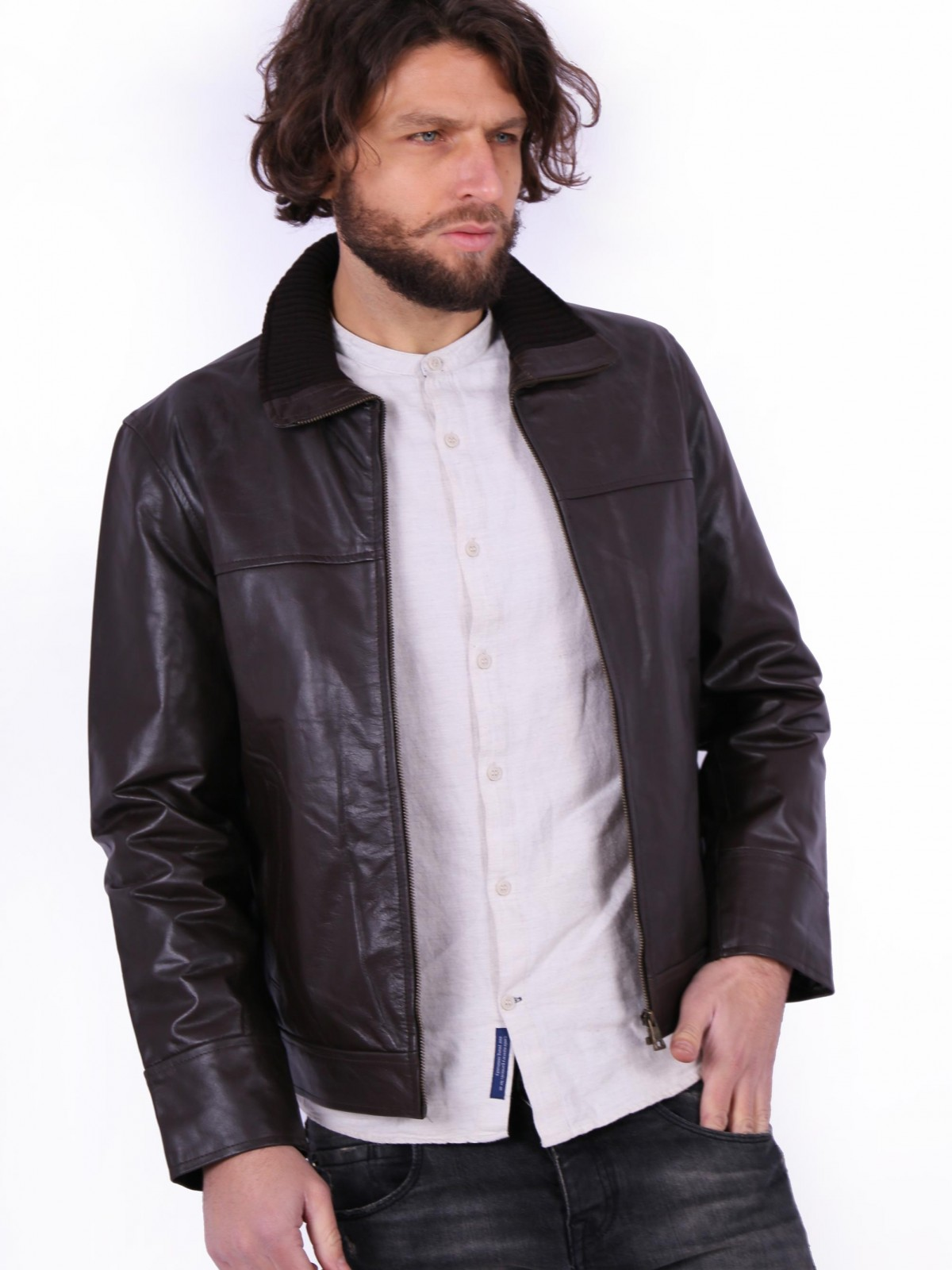 Αlex-Rib-Collar Brown. Genuine leather jacket for men