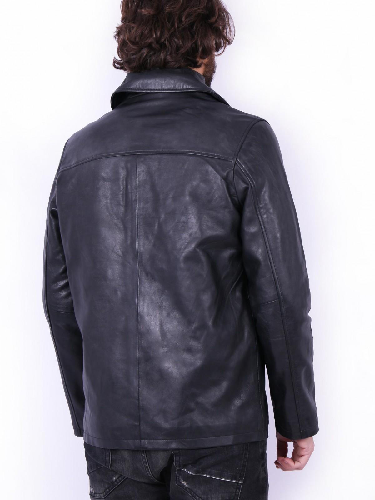 Frisco B Black. Genuine leather jacket for men