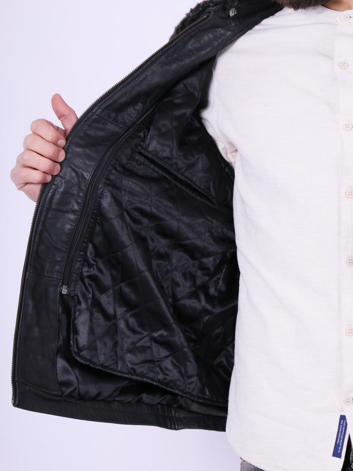 Frisco fur Black. Genuine leather jacket for men