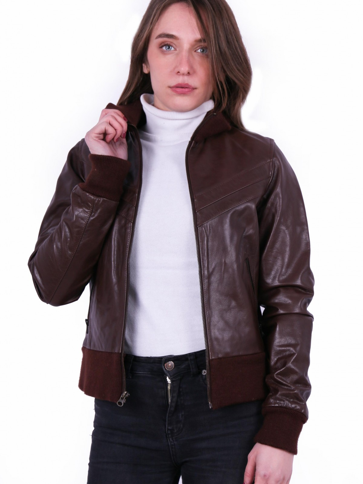 Villy Brown. Genuine ladies leather bomber jacket.