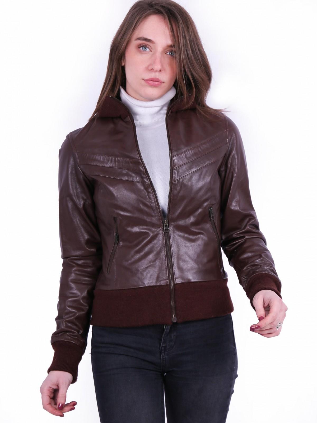 Villy Brown. Genuine ladies leather bomber jacket.